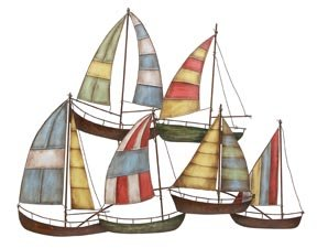 Tall Sailboats Nautical Decor Metal Wall Art Sculpture
