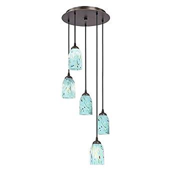 multi light adjustable pendant light with turquoise blue