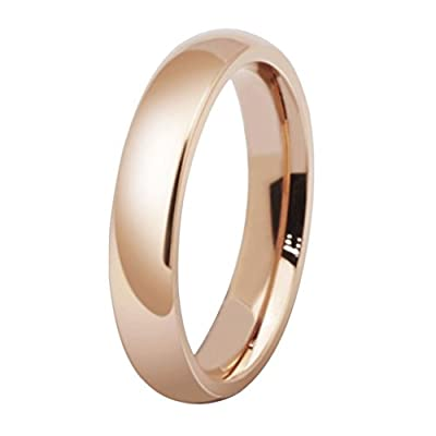 AMDXD Jewelry Titanium Stainless Steel jewellery Plated Rose Gold Women's Fashion Ring Wedding Bands