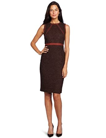 Magaschoni Women's Wool Tweed Dress, Henna/ Dark Chocolate Combo, 2
