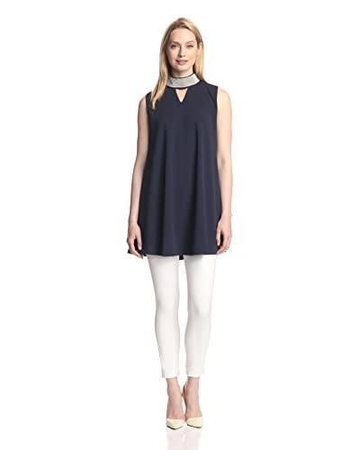 Gracia Women's Stud Neck Flare Tunic  [Navy]
