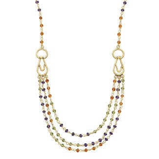 Carnelian, Peridot and Amethyst Bead Necklace 14K Yellow Gold on Sterling Silver