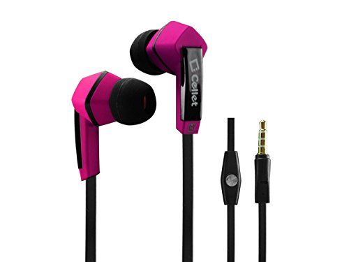 Cellet 3.5Mm Square Flat Wire Stereo Hands Free Ear Buds With Microphone- Pink/Black