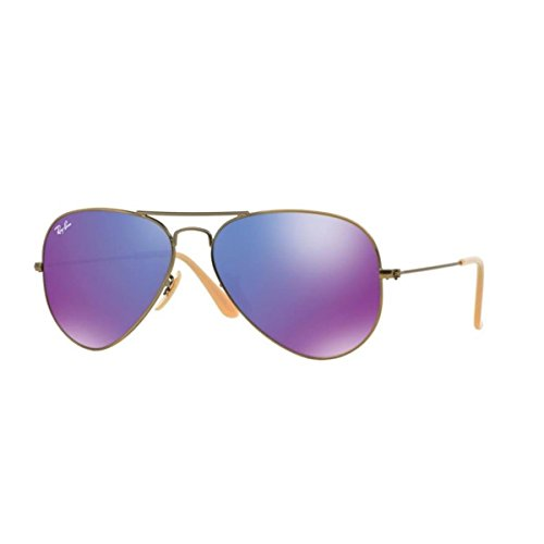 Ray-Ban RB3025 Aviator Large Metal, Occhiali da Sole, Multicolore (Brushed Bronze Demi Shiny 3025), 55 mm