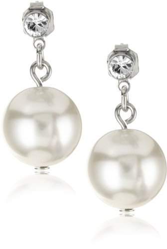 Nina Bridal Annabell Glass Pearl and Cubic Zirconia Drop Earrings