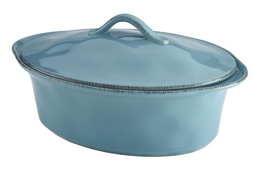 Rachael Ray Cucina Stoneware 3-1/2-Quart Oval Casserole, Agave Blue (Rachael Ray Stoneware Cookware compare prices)
