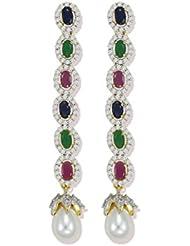 Zaveri Pearls Sparkling Blue Sapphire,Ruby And Emrald Semi Precious CZ Stones With White Pearl Dangler Earrings...