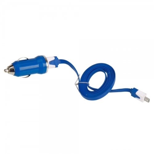 Dark Blue Car Vehicle Charger Adapter With Data Cable For Verizon Casio G'Zone Gzone Commando By Things Needed