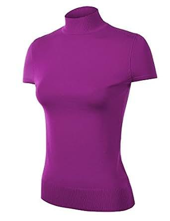 Mbj Womens Short Sleeve Mock Turtleneck Pullover Sweater