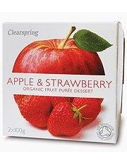 Clearspring Purée de fruit Pomme & Fraise 2 X 100g x 4