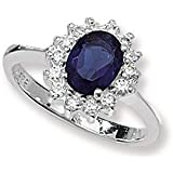 Sapphire & Diamond Cubic Zirconias (CZ) Engagement Ring - Sterling Silver - MEDIUM Replica Kate Middleton / Princess Diana Style Ring - The Royal Ring