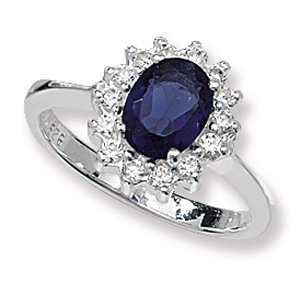 Sapphire & Diamond Cubic Zirconias (CZ) Engagement Ring - Size J - Sterling Silver - MEDIUM Replica Kate Middleton / Princess Diana Style Ring - The Royal Ring