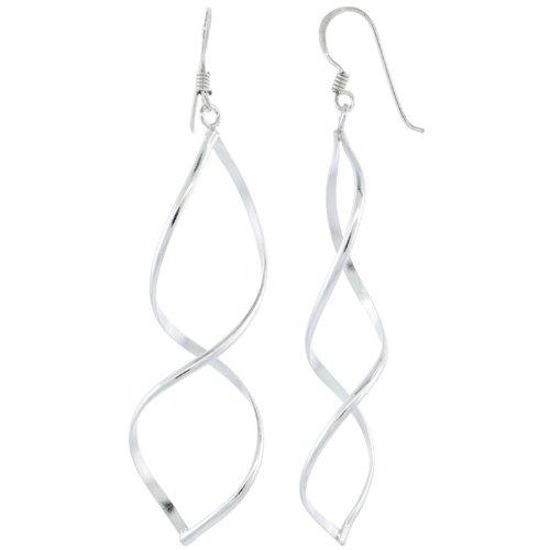 Sterling Silver Wavy Diamond Cut Outs Dangle Earrings, 2 3/4 in. (69mm) tall