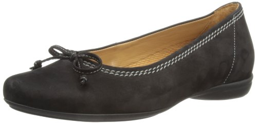 Gabor Womens Nubuk Estelle Ballet Flats 82.621.47 Black 4 UK, 37 EU