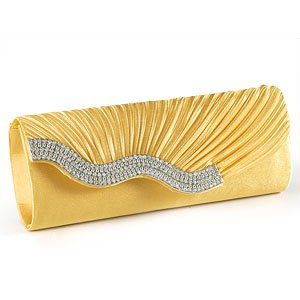 Yellow Gold SATIN Wavy CRYSTAL DIAMANTE EVENING CLUTCH BAG PURSE BRIDAL PROM