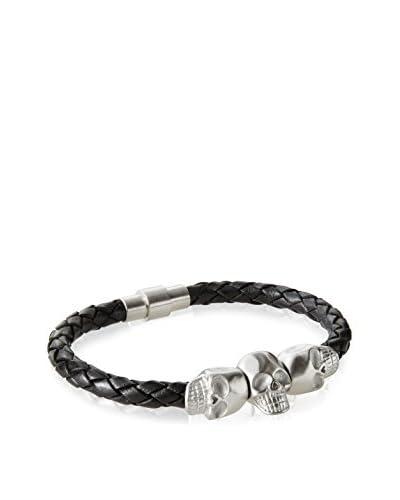 BlackJack Leather Stainless Skull Bracelet