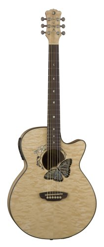 Luna FAU BTFLY Electro Acoustic Fanua Guitar with Inlaid Butterfly Rosette