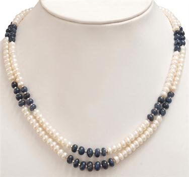 Fashionable Natural Sapphire & Fresh Water Pearl Beaded 2 Rows Necklace