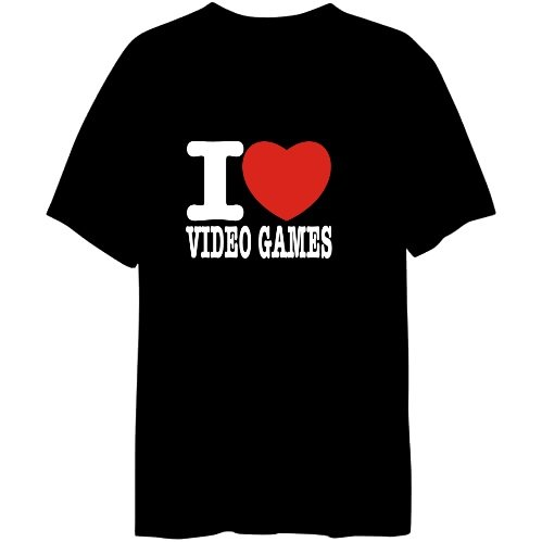 I Love Video Games Hobbies Mens T-shirt (Black, Sizes X-Small - XXX-Large)