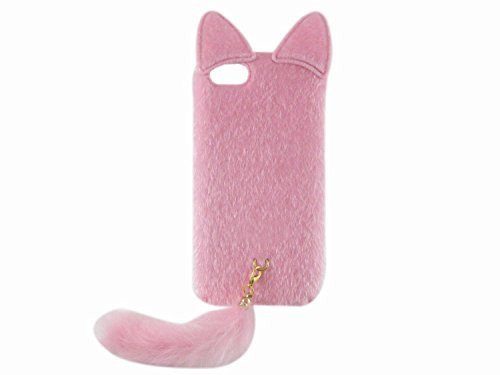 Shark® Great gift! Warm your hand in winter,Luxury soft fur with tail case for IPhone 6/6S(4.7inch) (Pink)