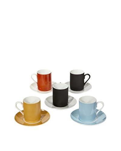 2 B Modern Set of 5 Multi-Colored Espresso Cups & Saucers, Multi