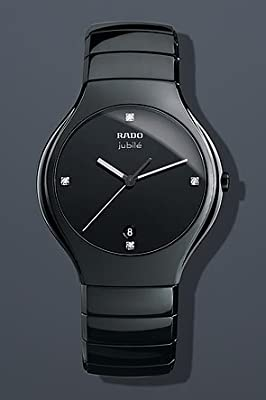 Rado True Jubile Black Diamond Dial Ceramic Mens Watch R27653742
