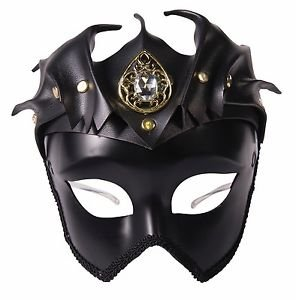 [Faux Leather Black Medieval Warrior Mask Adult Queen King Bat Costume Accessory] (Dragon Warrior King Adult Mens Costumes)
