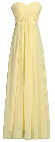 Ouman Sweetheart Bridesmaid Chiffon Prom Dress Long Evening Gown Yellow S
