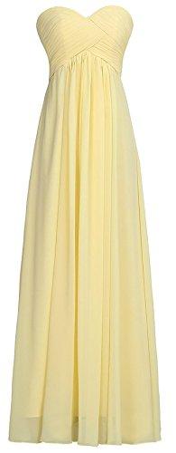 Ouman Sweetheart Bridesmaid Chiffon Prom Dress Long Evening Gown Yellow L