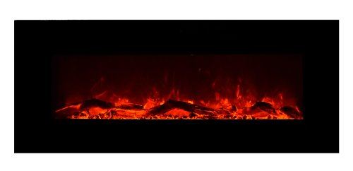 "Amantii Horizontal 50"" Electric Wall Mounted Fireplace Black Glass Wm50Blkgls"