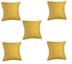 Trendz Trendy & Plain Cushion Covers- Set of 5 - 12 X 12 , yellow