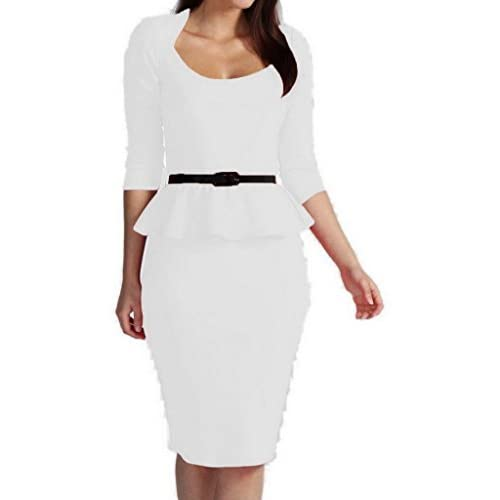 (ラボーグ)La Vogue ボディコン レディース ワンピースドレス キャバ 二次会 OL タイト 着痩せ 七分袖 ベルト付きミニ丈ワンピース M ホワイト
