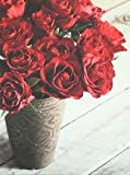 Red Roses Flowers in Vase Canvas Wall Art Picture Vintage Style canvas 57x77cm