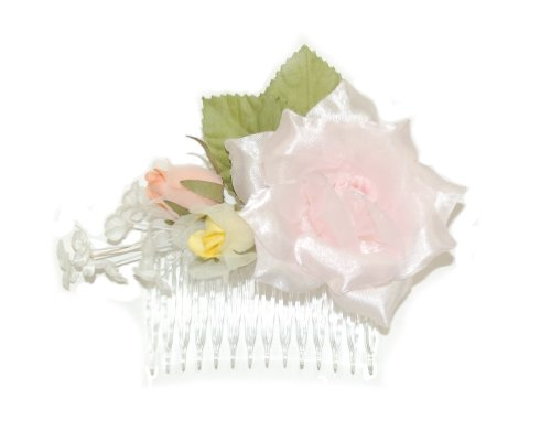 Pink, Yellow, Peach, White and Green Fascinator decorated with Variation of Flowers and Leaves Set on Clear Comb.