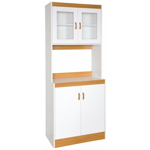 Home Source Industries 153Brd Tall Kitchen Cabinet With Solid-Door Below Shelf And Glass Doors, White With Light Wood Trim