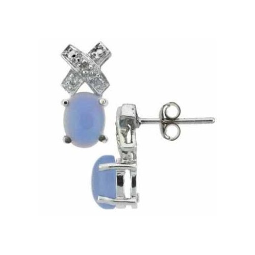Sterling Silver Genuine Diamond Accent Chalcedony X and O Earrings