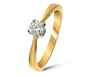 Certified Beautiful 9 ct Gold Ladies Solitaire Engagement Diamond Ring Brilliant Cut 0.20 Carat JK-I3 Size S