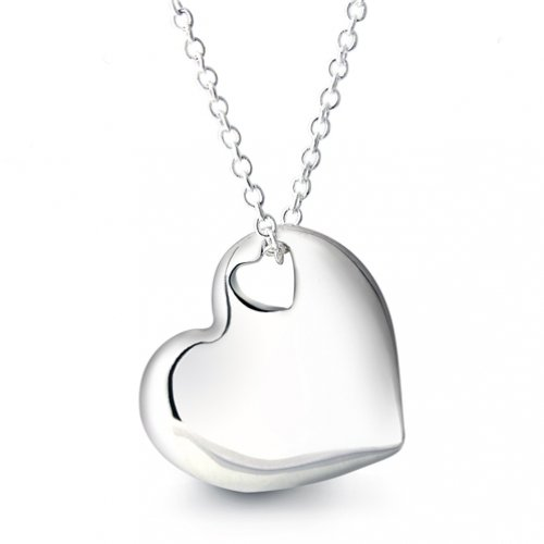 Bling Jewelry Designer Inspired Sterling Silver Two Heart Pendant Necklace 16