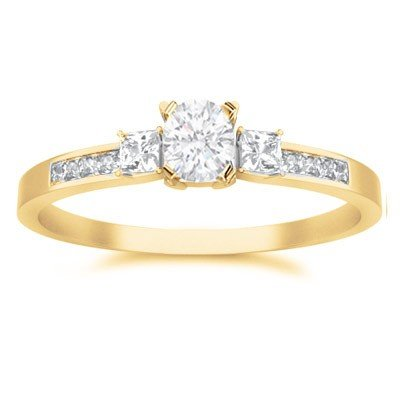 0.62 Carat Three Stone Cheap Engagement Ring with Round cut Diamond on 18K Yellow gold