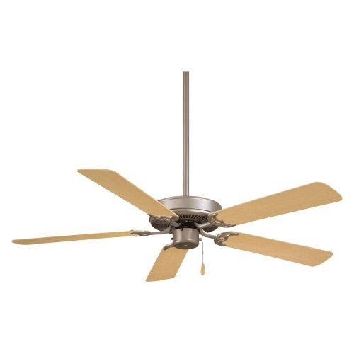 Minka Aire F547-BS/NM Contractor 52 in. Indoor Ceiling Fan - Brushed Steel with Natural Maple Blades - ENERGY STAR
