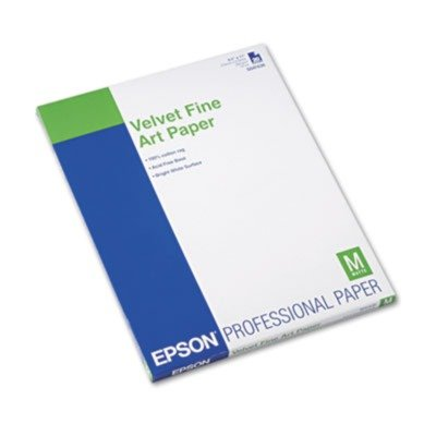 Epson Velvet Fine Art Paper, 17 X 22, White, 25 Sheets/Pack,