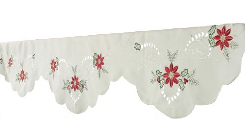 Xia Home Fashions Poinsettia Christmas Mantle Scarf, 82 by 60 by 20-Inch