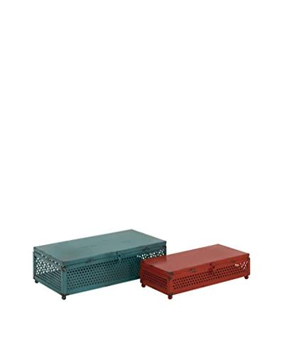 Set of 2 Metal Boxes, Teal/Red