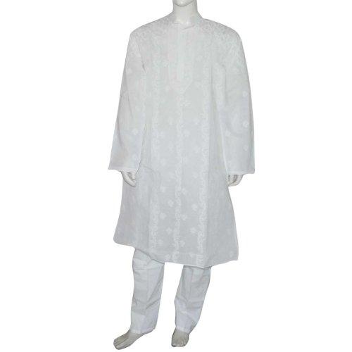 Indian Clothing Cotton Embroidered Kurta Pajama Chest Large : 102 Cms