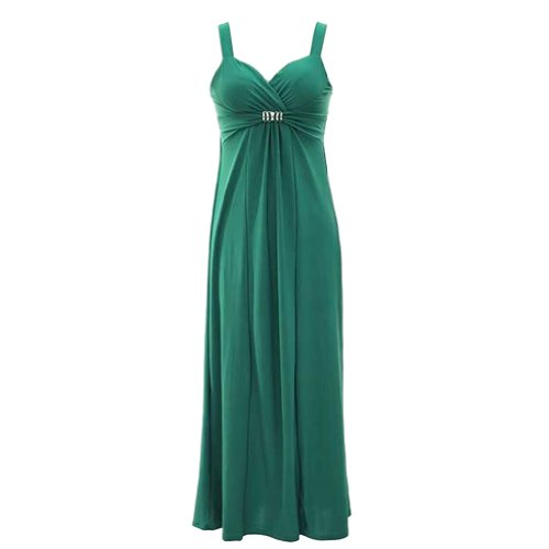 Luxury Divas Teal Green Elegant Long Maxi Dress Sweetheart Neckline Size Small