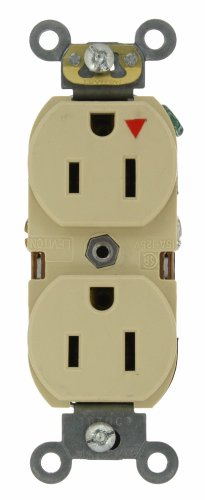 Leviton 5262-Igi 15-Amp, 125 Volt, Industrial Series Heavy Duty Specification Grade, Duplex Receptacle, Straight Blade, Isolated Ground, Ivory