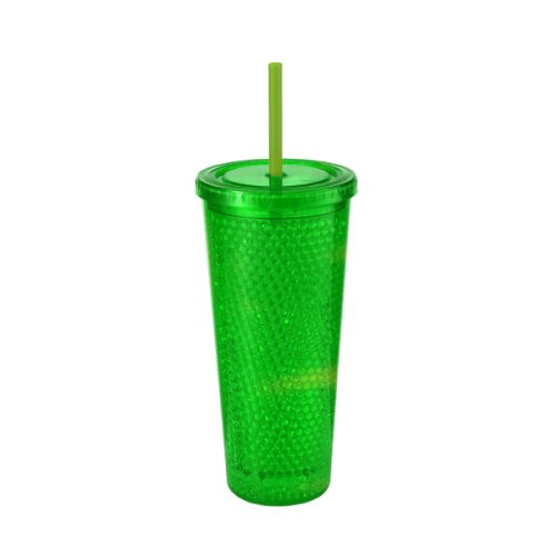 Design For Living Double Wall Bubble Gel Ice Beverage Cup,19-Ounce, Green front-990561
