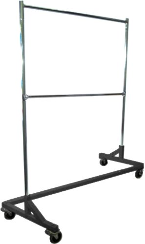 Deluxe Commercial Grade Rolling Z Rack Garment Rack with Nesting Base, 400lb Capacity, Gloss Black Base, Double Bar and Adjustable Height Chrome Uprights (Adjustable Double Garment Rack compare prices)