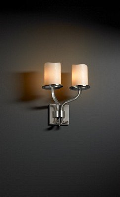 Sonoma 2 Light Brushed Nickel Sconce Candle Shades