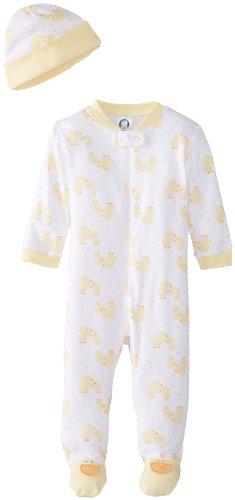 Gerber Unisex-Baby Newborn 2 Piece Set Sleep N Play and Cap-Duck, Yellow, 0-3 Months